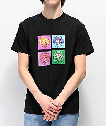 Trippy Burger Four Eyes Black T-Shirt