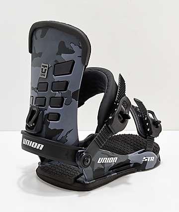 Union STR 2019 fijaciones de snowboard de camuflaje negro