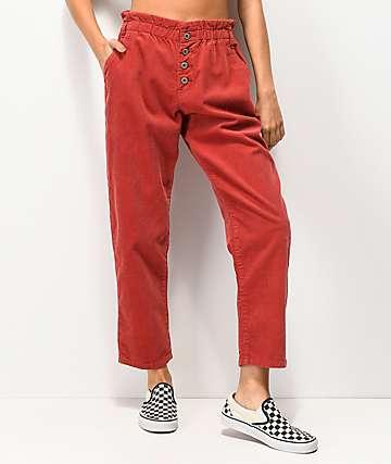 Unionbay pantalones de pana roja de cintura alta