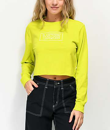 Vans After Dark Yellow Crop Long Sleeve T-Shirt