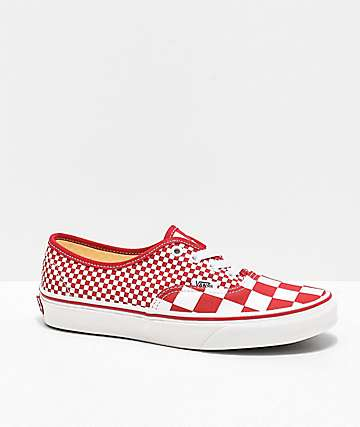 Vans Authentic Mixed Chili Red Checkerboard Skate Shoes