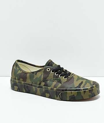 Vans Authentic Mono Olive Camo Skate Shoes