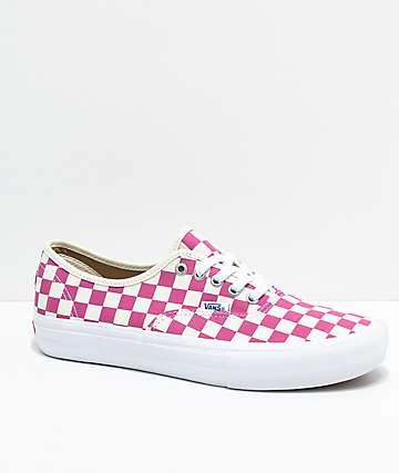 Vans Authentic Pro Fuchsia Checkered Skate Shoes