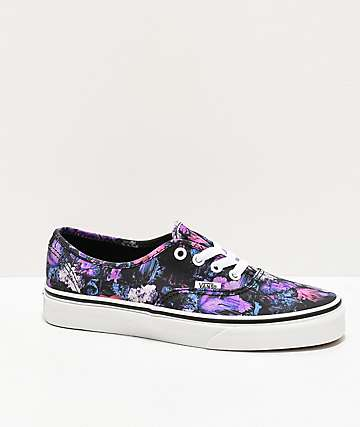 Vans Authentic Warped Floral Black & Purple Skate Shoes