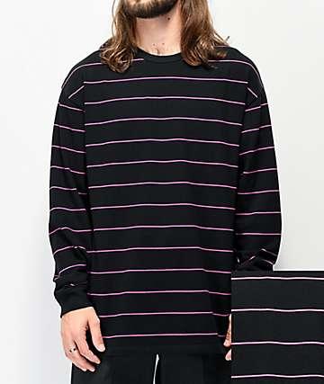 Vans Awbrey Black & Pink Stripe Knit Long Sleeve T-Shirt