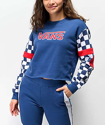 Vans BMX Red White & Blue Crop Crew Neck Sweatshirt