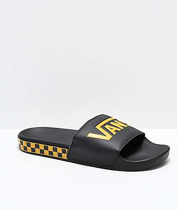 Vans Black & Sunflower Checkerboard Side Slide Sandals