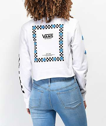 Vans Bloom White & Blue Crop Long Sleeve T-Shirt
