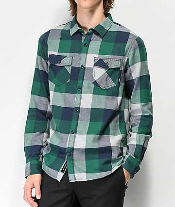 Vans Box Green, Grey and Blue Flannel Shirt