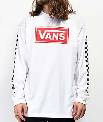 Vans Box Vee Racing White Long Sleeve T-Shirt