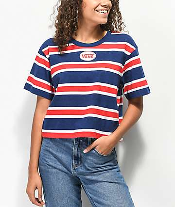 Vans Boxy Crop Red, White & Blue Striped Crop T-Shirt