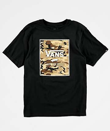 Vans Boys Camo Print Box Black T-Shirt