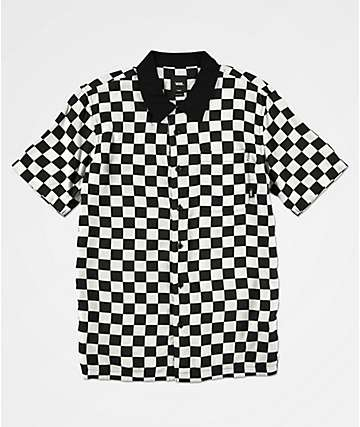 Vans Boys Checker Camp White & Black Checker Short Sleeve Button Up Shirt