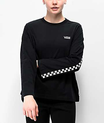 Vans Break Black & White Checkerboard Long Sleeve T-Shirt