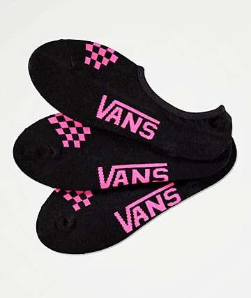 Vans Canoodle paquete de 3 calcetines invisibles negros y rosas