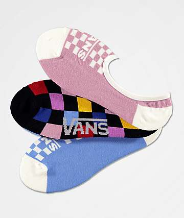 Vans Canoodles Multicolor Checkerboard  3 Pack No Show Socks