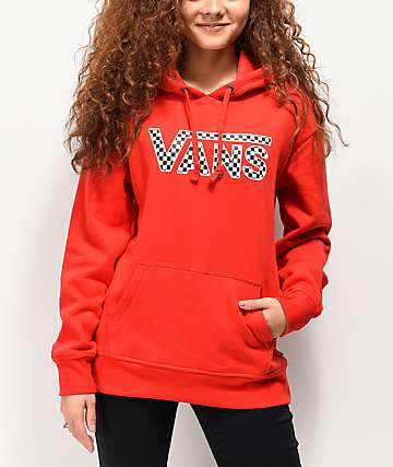 Vans Check Drop V Red Hoodie