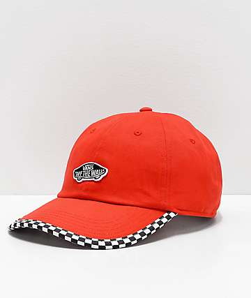 Vans Check It Poppy Red & Checkerboard Strapback Hat