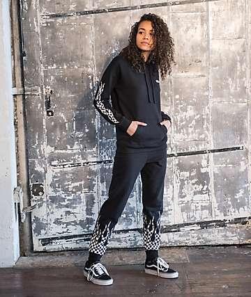 Vans Checkerboard Flame Black Sweatpants