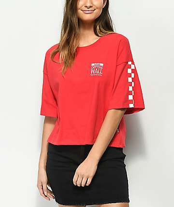 Vans Checkerboard Red & White Crop T-Shirt