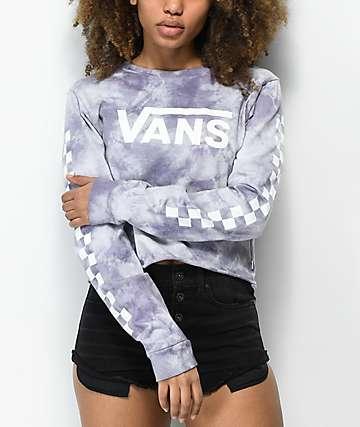 Vans Checkerboard Sea Fog Cloud Wash Crop Long Sleeve T-Shirt