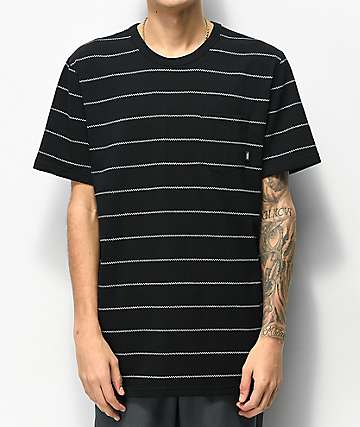 Vans Checkerboard Striped Black & White Pocket T-Shirt