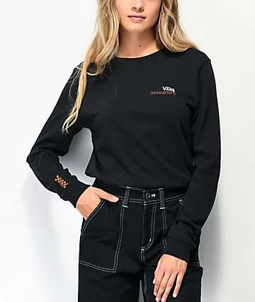 Vans Checkerboard Text Black Long Sleeve T-Shirt
