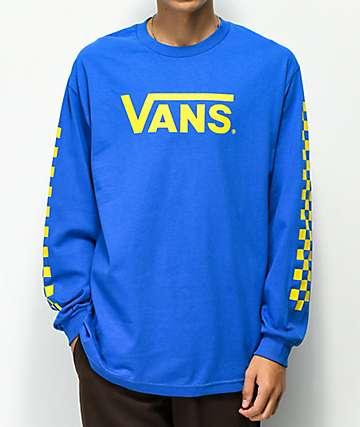 Vans Classic Checkerboard Blue & Yellow Long Sleeve T-Shirt