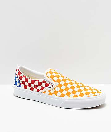 Vans Classic Slip On Checkerboard Red, Blue & Yellow Skate Shoes