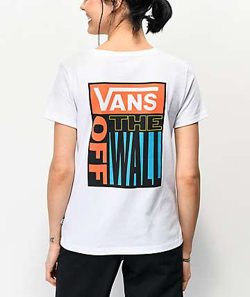 Vans Drop V White & Red T-Shirt