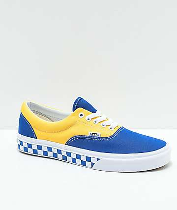 Vans Era BMX Blue, Yellow & White Checkerboard Skate Shoes