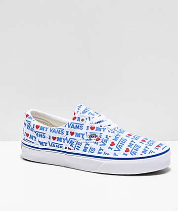 Vans Era I Heart Vans White & Blue Skate Shoes