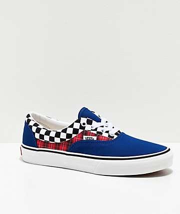 Vans Era Plaid Checkerboard Blue & Racing Red Skate Shoes