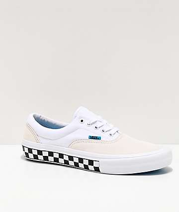 Vans Era Pro Checkerboard White & Blue Skate Shoes