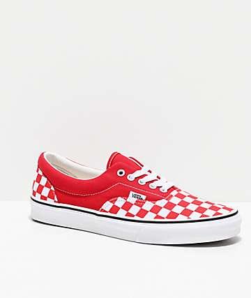 Vans Era Racing Red Checkerboard Skate Shoes