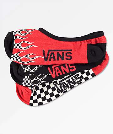 Vans Flame Checkerboard 3 Pack No Show Socks