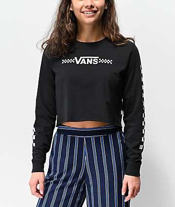 Vans Funnier Times Black Crop Long Sleeve T-Shirt