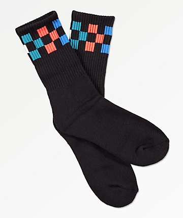 Vans Girl Gang Black & Multicolored Checkerboard Crew Socks