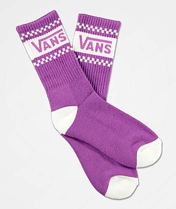 Vans Girl Gang Checkerboard Dewberry Purple Crew Socks