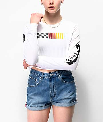 Vans High Performance White Long Sleeve Crop T-Shirt