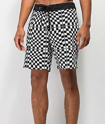 Vans Mixed Checkerboard shorts de baño negros y blancos