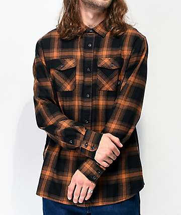 Vans Monterey III Black & Burnt Orange Flannel Shirt