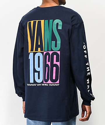 Vans Multi Checkerboard Stack Navy Long Sleeve T-Shirt