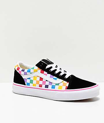 Vans Old Skool Black, Pink & Rainbow Checkerboard Skate Shoes