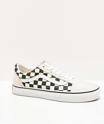 Vans Old Skool Checkerboard White Skate Shoes