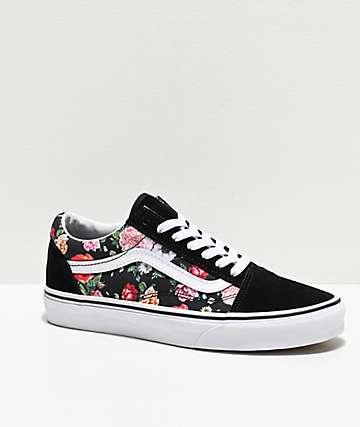 Vans Old Skool Garden Floral & Black Skate Shoes
