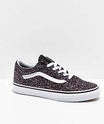 Vans Old Skool Glitter Star Black Skate Shoes