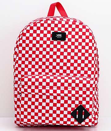 Vans Old Skool III Red & White Checkerboard Backpack