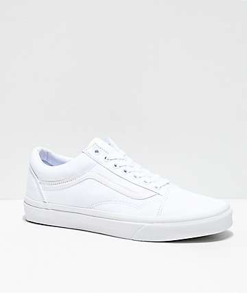 Vans Old Skool Mono White Skate Shoes