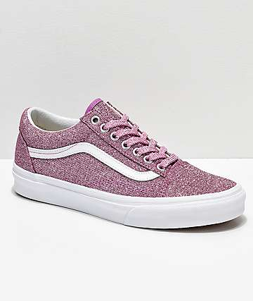 Vans Old Skool Pink & White Glitter Skate Shoes